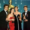 Benicio Del Toro, Marcia Gay Harden, Julia Roberts and Russell Crowe At The 73rd Annual Academy Awards - Press Room (2001)