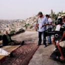 Rana Sultan, Nadim Sawalha and Director/writer Amin Matalqa on the set of Captain Abu Raed.