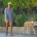 Regina King – Takes her dog out for a walk in Los Angeles - 454 x 303