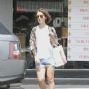 Lily Collins In Denim Shorts Out In Los Angeles