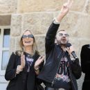 Ringo Starr on his 70th Birthday showing his peace in germany