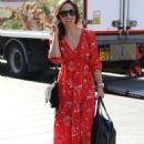 Myleene Klass in Red Dress – Arrives at Global Radio in London