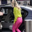 Ashley Roberts – In pink leather pants and yellow leaving the Heart Radio Studios in London - 454 x 680
