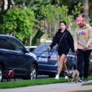 Nicole Williams and Larry English – Walk there pups in Los Angeles