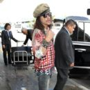 Steven Tyler arrives at LAX with his dog on June 17, 2015.