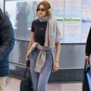 Gigi Hadid in Jeans – Arriving at the airport in Milan
