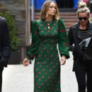 Olivia Wilde in Long Flowing Green Dress – Out in Toronto