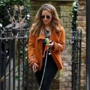 Caroline Flack with her dog out in London - 454 x 721