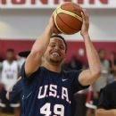 Stephen Curry #49 of the 2015 USA Basketball Men's National Team attends a practice session at the Mendenhall Center on August 11, 2015 in Las Vegas, Nevada - 374 x 600