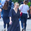 Dakota Fanning in Blue Long Dress out in New York