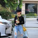 Lucy Hale in Ripped Jeans at Coffee Bean in Studio City - 454 x 598
