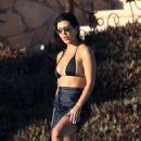 Kourtney Kardashian in Black Bikini on vacation in Mexico