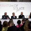Press conference on the set of Quantum of Solace at Pinewood Studio. Left to right: Producer Michael G. Wilson, Judi Dench, Director Marc Forster and Producer Barbara Broccoli. Byline David Dettmann. Quantum of Solace © 2008 Danjaq, LLC, United Artists Co - 454 x 365