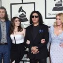 Nick Simmons, Sophie Simmons, musician Gene Simmons, and actress Shannon Tweed attend The 58th GRAMMY Awards at Staples Center on February 15, 2016 in Los Angeles, California. - 454 x 301