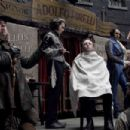 "(Left to right) The unctuous Beadle Bamford (Timothy Spall) moderates a shaving competition between rival barbers Sweeney Todd (Johnny Depp) and the braggart Pirelli (Sacha Baron Cohen) in ""Sweeney Todd: The Demon Barber of Fleet Street."" Phot"
