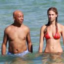 Russell Simmons and Julie Henderson on Miami Beach