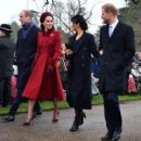 Kate and Meghan are all smiles as they put rumours of a rift behind them to join their husbands, the Queen and the rest of the Royal Family at Christmas Day church service in Sandringham