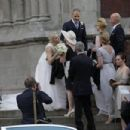 Ex-AC Milan player marries his model girlfriend in a lavish Sardinian ceremony with TWO wedding dresses, Tiffany rings and a surprise gig by Andrea Bocelli - 454 x 303