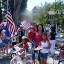 Deanna Eve with her two children on the 4th of July parade