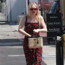 Dakota Fanning in Print Dress out in Beverly Hills