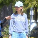 Calista Flockhart with her dogs out in Brentwood - 454 x 567