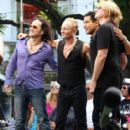 Joe Elliott, Phil Collen and Vivian Campbell of Def Leppard appear for a performance and interview with Mario Lopez of 'Extra' at The Grove, California on June 1st, 2012 - 415 x 594