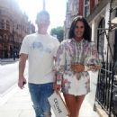 Danielle Lloyd and her husband Michael O'Neill – Seen at Sexy Fish in Mayfair - 454 x 696