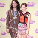 Actors Ezra Miller (L) and Emma Watson arrive at the 2012 MTV Video Music Awards at Staples Center on September 6, 2012 in Los Angeles, California