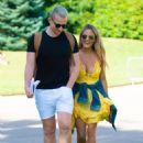 Caroline Flack in Yellow Mini Dress – Out in London - 454 x 614