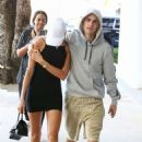 Hailey in Black Mini Dress with Justin Bieber – Out in Miami