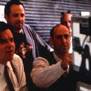 Oliver Platt and writer/director Stanley Tucci on the set of The Impostors
