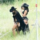 Alessandra Ambrosio and and Adriana Lima Shooting for VS holiday catalog in Aspen - 454 x 513