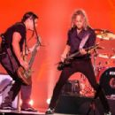 Robert Trujillo and Kirk Hammett of the band Metallica perform live on stage at Autodromo de Interlagos on March 25, 2017 in Sao Paulo, Brazil