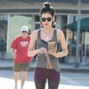 Lucy Hale – Grabs a coffee in her workout gear in LA