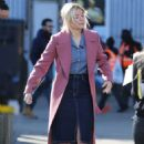 Holly Willoughby in Pink Coat at ITV Studios in London - 454 x 699