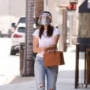 Emmy Rossum – Wearing a mask and a face shield as she heads to a doctors office in Beverly Hills - 454 x 681