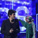 John Mayer and host Alicia Keys At The 61st Annual Grammy Awards - Show - 454 x 575