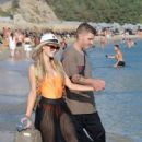 Paris Hilton on the beach in Mykonos