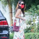 Eiza Gonzalez in a colorful festive dress at San Vicente Bungalows