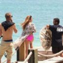 Jasmine V shoots a music video on the beach in Aruba for Dirty Dutch Electric Festival directed by Mario Gonsalves on September 8, 2014