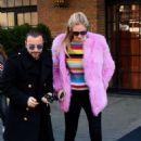 Chiara Ferragni in Pink Fur Coat out in New York - 454 x 684