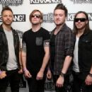Michael Thomas, Matt Tuck, Jason James and Michael Paget of Bullet for My Valentine attends the Relentless Energy Drink Kerrang! Awards at the Troxy on June 11, 2015 in London, England.