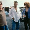 Director John McTiernan, Pierce Brosnan and Rene Russo in The Thomas Crown Affair