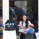 Jordan Brewster has lunch with husband Andrew Form and son Julian at Barney's Gourmet Hamburger