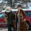 Katy Perry in Fur Coat – Out in Aspen