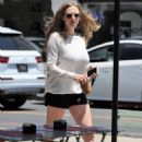 Amanda Seyfried in Black Shorts out for an iced coffee in West Hollywood