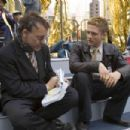 Director Sam Raimi (left) and Topher Grace (right) on the set of Columbia Pictures' Spider-Man 3. Photo Credit: Merie W. Wallace. Copyright© 2006 Sony Pictures Entertainment Inc.. All rights reserved. - 454 x 303