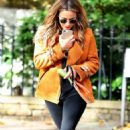 Caroline Flack with her dog out in London - 454 x 777