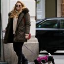 Rachel Hilbert with her dog out in New York City - 454 x 537
