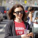 Lily Collins Leaves workout in Beverly Hills - 454 x 580
